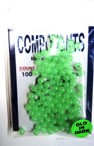 6MM Beads - Green - Glow in the Dark - 100 Pack - for Fishing Tackle or Jewelry - #6MMGRGLO - Hard -