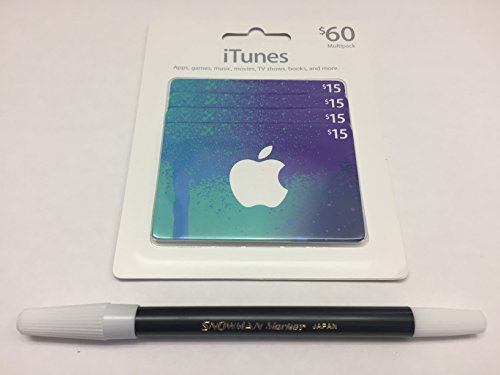 [해외]$ 60 iTunes Gift Card 멀티 팩 (4x15)/$60 iTunes Gift Card Multi Pack (4x15)