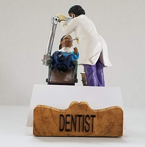 Dentist Business Cardholder Figurine. Gift and Collectible - African American Female. by RoCo2 Enterprises