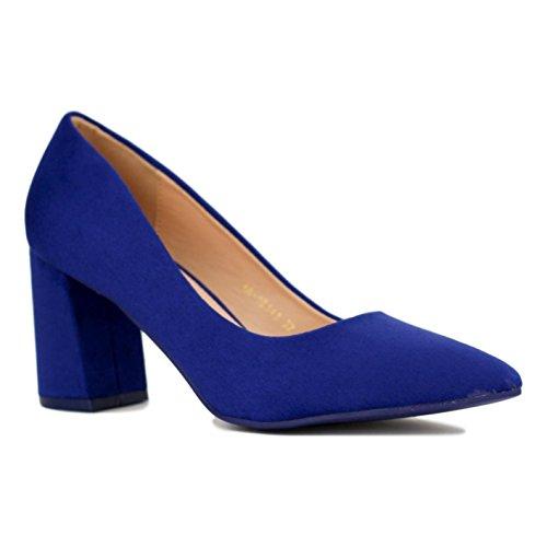 Buonarotti Zapato de Antelina. Tacón DE 7.5 Centímetros. Azul