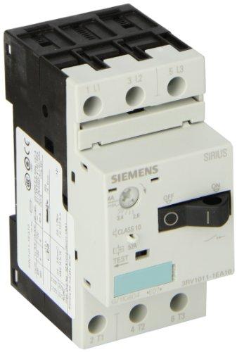 Siemens 3RV1011-1EA10 Motor Starter Protector, Screw Connection, 3RV101 Frame Size, 2.8-4 FLA Adjustment Range, 52A Instantaneous Short Circuit Release, 65kA UL Short Circuit Breaking Capacity at 480V