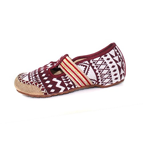 Y SSBY Natural Thirty four Dichotomanthes Treinta Lino Fondo Nueve Zapatos Retro Rojo rCxgqUn8rw