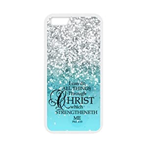 EVERMARKET(TM) Fitted I can do all things through Christ who strengthens me - Philippians 413 - Bible verse Hard PC Back with White TPU Edge Case Cover for Apple iPhone SE and 5/5S