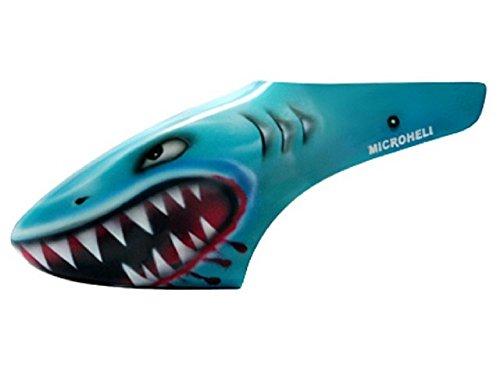 Shark Fiberglass - Microheli Airbrush Fiberglass Shark Canopy - BLADE 130X