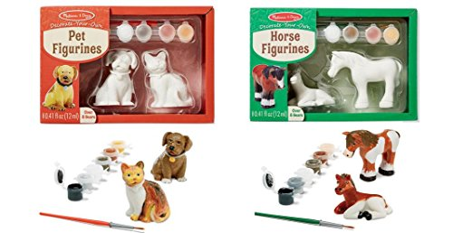 Pet Figurines and Horse Figurines Paiting Decorate Your Own 2 Items Bundle