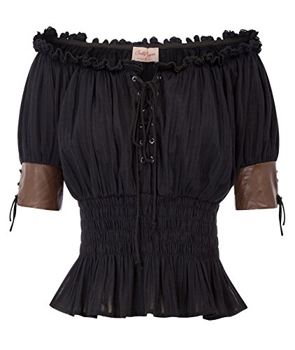 Women Victorian Steampunk T Shirts Tops Gothic Boho Blouse Shirts L Black]()