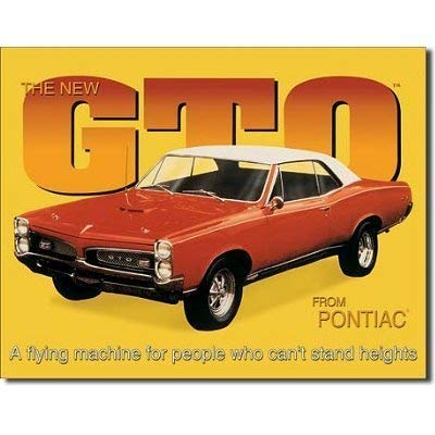 MMNGT Pontiac GTO Car Retro Vintage Tin Sign TIN Sign 7.8X11.8 INCH