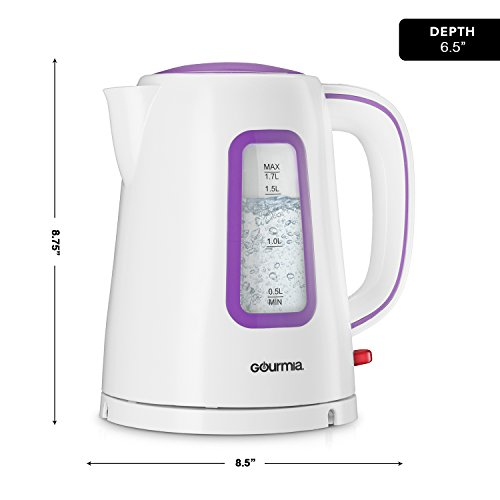 Gourmia GK220 Supreme Electric Tea Kettle - Cordless - Speed Boil - Auto Shutoff - Boil Dry Protection - Concealed Heating Element - 360° Swivel Base - 1.7L - 1500 Watts - 110/120V - White/Purple by Gourmia (Image #6)