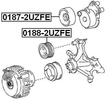 Pulley Idler Febest 0187-2UZFE Oem 16603-0W030
