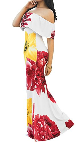 Shoulder Dress Ruffle Off 6 Beach Style Women's Floral Sexy PRETTYGARDEN Boho Bodycon Maxi Printed PwEqaFxnZ