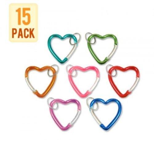 Metall-Karabiner Karabinerhaken mit Schlüsselanhänger - Herz in Verschiedene Farben Shaped (15 Stück-Packung)