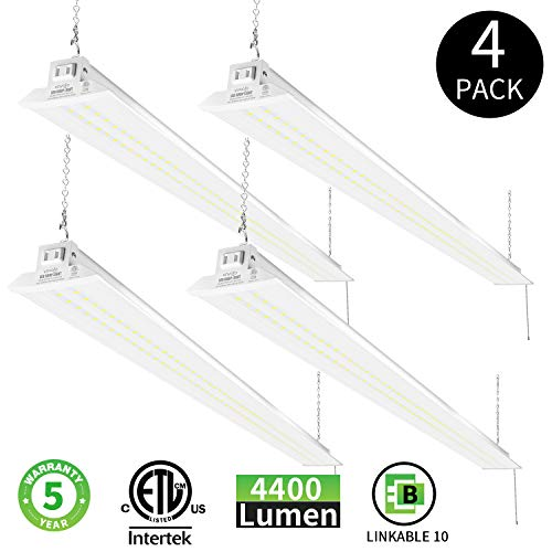 VAVOFO LED Industrial Utility Shop Light for Garage, 4FT 48 Inch 36W 4400LM 5000K Daylight White, with Pull Chain (ON/Off), Linear Work Light Linkable Integrated Fixture with Plug, ETL Listed (4 Pack)