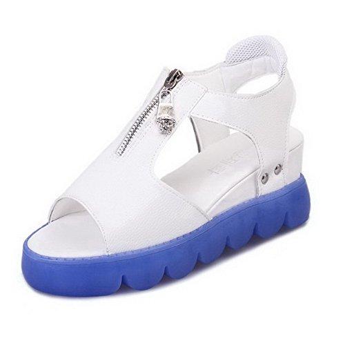 Open Damen AalarDom Blau Heels Sandalen Reißverschluss Kitten Solid Toe PU UpqwSxq