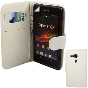 Credit Card Voltear Caso Cubrir Piel Y Pantalla LCD De Guardia Para Sony Xperia SP / White