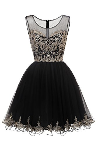 Gold Eighth Note (Short Cocktail Party Dress Tulle Gold Applique Junior Homecoming Dress Black,2)