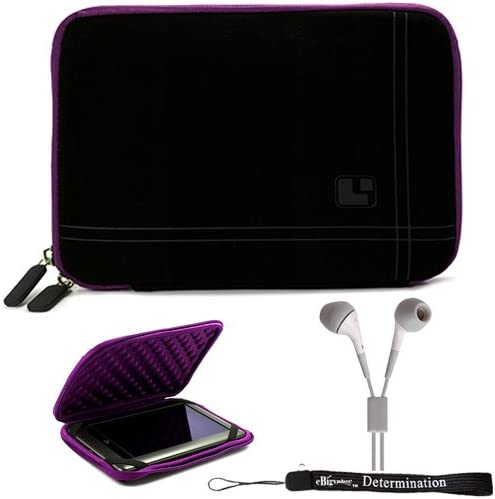 Purple Black Limited Edition Stylish Sleeve Premium Cover Case for Barnes and Noble Nook Color eBook Reader Tablet and Hand Strap and Earbuds