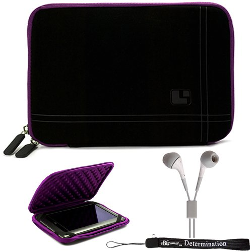 Purple Black Sleeve Case with Bump Protection For Barnes & Noble NOOK COLOR eBook Reader Tablet + HD Earbuds (3.5mm Jack)