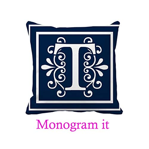 SG.Maybee Letter T Monogram Navy Blue White Throw Pillow Covers Home Decoration -