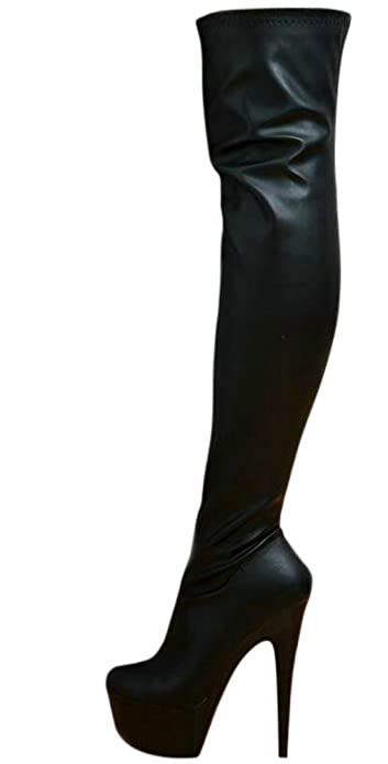7c504747d0b EROGANCE Sexy Bottes Cuissarde Femme Effet Cuir Chaussures Talon Haut  Aiguille Plateforme EU 37