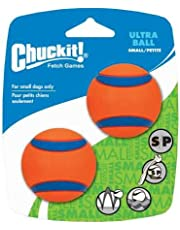 Chuckit Ultra Ball, Durable High Bounce Rubber Dog Ball, Launcher Compatible, 2 Pack, Small