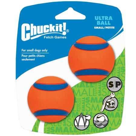 Chuckit Ultra Ball, Durable High Bounce Rubber Dog Ball, Launcher Compatible, 2 Pack, Small