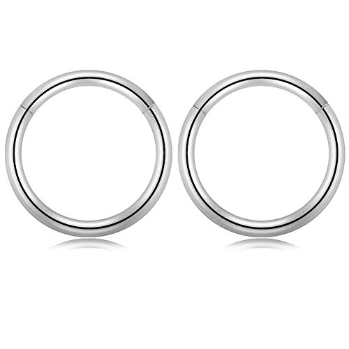 GAGABODY 16G Clicker Segment Seamless Hoop Nose Ring 12mm 1/2Inch Septum Ring Unisex Hoop Earrings Easy Use Body Piercing Silver ()