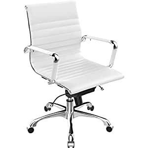 Poly and Bark Eames Style AG Management Office Chair in Soft Touch Leather, White