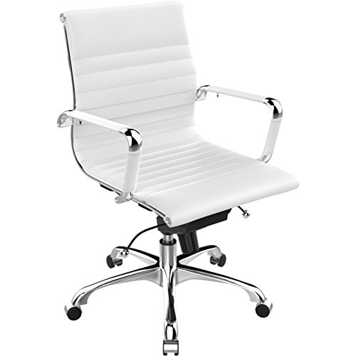 Poly and Bark Ribbed Mid Back Office Chair in Vegan Leather, (Clear Contemporary Desk)