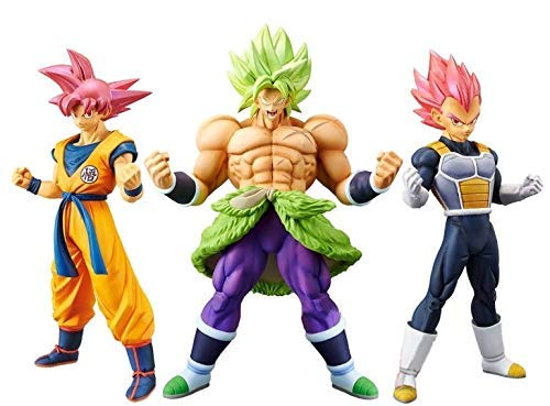 Banpresto Dragonball Super Movie Cyokoku Buyuden-Super Saiyan Broly Full Power & Goku & Set of 3 Vegeta Figure Statue (Statue Figure Set)