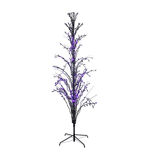 Northlight Seasonal 4' Purple LED Lighted Halloween Cascade Twig Tree Outdoor Yard Art Decoration -
