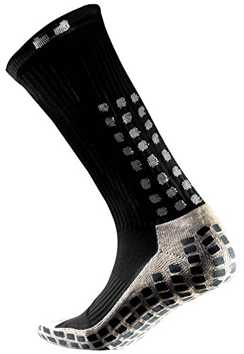 TRUSOX Mid-Calf Crew Thin Soccer Sock (Large) Black