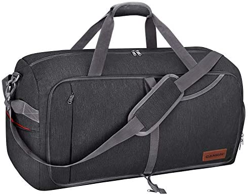Canway 65L Travel Duffel Bag, Foldable Weekender Bag with Shoes Compartment for Men Women Water-proof & Tear Resistant (Panther Black, 65L)