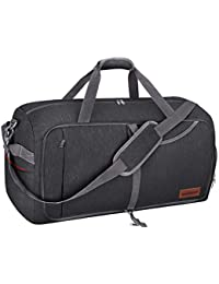 65L Travel Duffel Bag, Foldable Weekender Bag with Shoes Compartment for Men Women Water-proof & Tear Resistant (Panther Black, 65L)