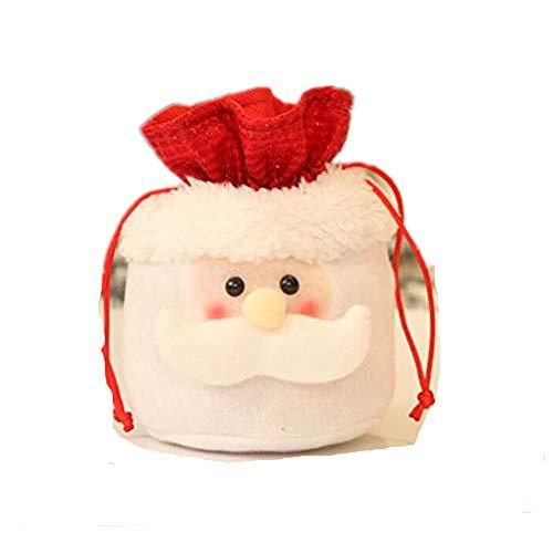 (SOURBAN Santa Claus Snowman Elk Reindeer Apple Candy Bag Flannel Drawstring Christmas Gift Storage Bag Home Party Decor,A old man)