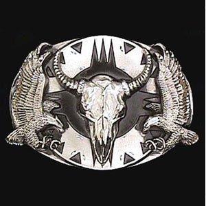 Diamond Skull Belts - Belt Buckle - Buffalo Skull/Eagles (Diamond Cut)