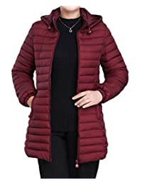 BYWX Women Longline Over Size Quilted Novelty Solid Waistcoat Down Jacket Coat