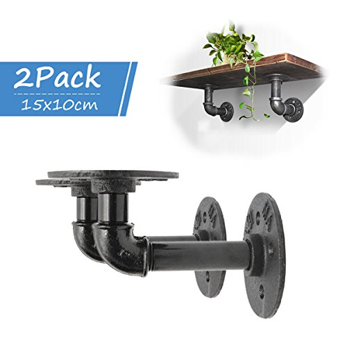 Shelf Wood Wall (KINGSO 2Pcs Industrial Black Iron Pipe Bracket Wall Mounted Floating Shelf Hanging Wall Hardware Decor For Farmhouse Shelving Hardware Heavy Duty)