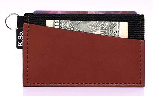 Minimalist Small Wallet Card Holder - Minimal Slim Front Pocket Elastic Wallet for Men & Women (Ultraz4L Brown)