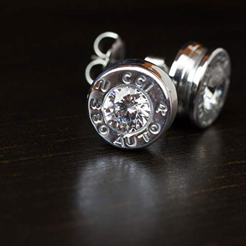 .380 Aluminum Bullet Casing Earrings Clear CZ with Titanium Posts, Hypoallergenic, Nickel Free, Bullet Earring Studs