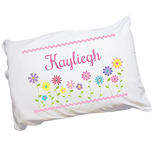 MyBambino Girl's Custom Stemmed Flowers Pillowcase (Monogrammed Pillowcase Personalized)