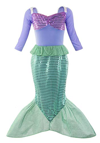 (Padete Little Girl Mermaid Princess Costume Sequins Party Dress (5-6 Years, Long)