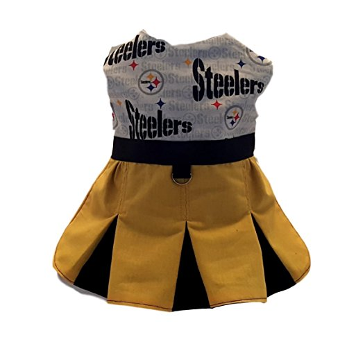 Dog Cheerleader Dress in Steeler Fabric (Small) -