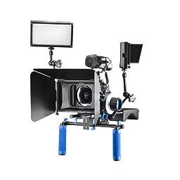 SunSmart Pro 15mm rod DSLR Support System Matte Box Lens Hood with 2 filter trays for Video and DSLR Cameras