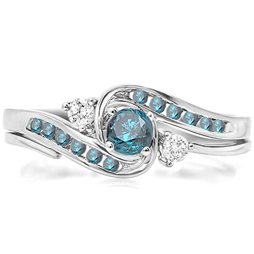 Dazzlingrock Collection 0.50 Carat (ctw) 10k Round Blue And White Diamond Ladies Swirl Bridal Engagement Ring Matching Band Set 1/2 CT, White Gold, Size 6.5 - Diamond 10k Gold Swirl Ring