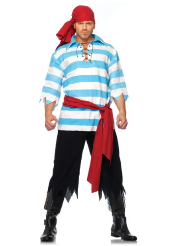 [Leg Avenue Men's Pillaging Pirate Costume, Blue/White, Small/Medium] (Pirate Costumes Man)