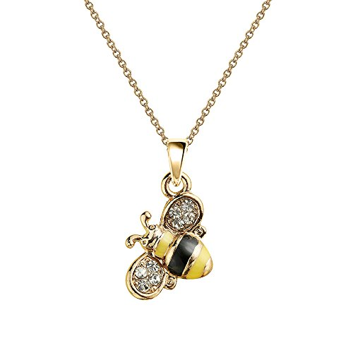 Bee Necklace Charm (NC063 Cute New Tiny Yellow Honey Bee Charm Pendant Necklace)