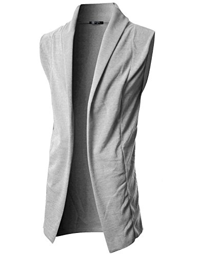 GIVON Mens Sleeveless Draped Open Front Shawl Collar Knitted Long Vest/DCC031-GREY-XL - Long Mens Vest