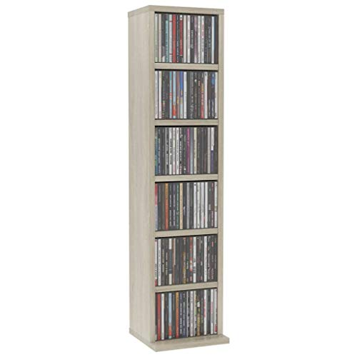 Canditree Media Cabinet, Media Storage Shelf Organizer for CDs and DVDs 8.3″x6.3″x34.6″ (Sonoma Oak)