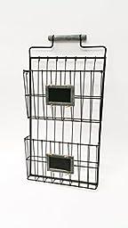2 Pocket Wall File Holder, Gray Wash Handle
