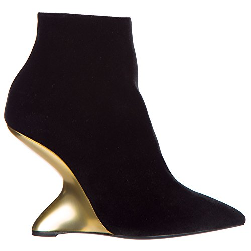 Salvatore Ferragamo Women's Leather Heel Ankle Boots Booties bolgheriv Black